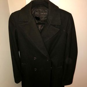 Zara Basic Small Black Pea Coat!! Oversized fit!